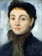 Portraits Tapestries Textiles - Portrait of Josephine Gaujelin by Edgar Degas
