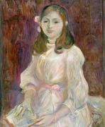 Pink Ribbon Prints - Portrait of Julie Manet Print by Berthe Morisot