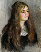 Red And Black Prints - Portrait of Julie Manet  Print by Pierre Auguste Renoir