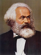Left Painting Framed Prints - Portrait of Karl Marx Framed Print by Unknown