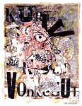 Abstract Mixed Media - Portrait of Kurt Vonnegut by Karl Frey