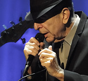Concert Images Prints - Portrait of Leonard Cohen in Concert Print by John C Bourne