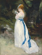 White Dress Posters - Portrait of Lise   Poster by Pierre Auguste Renoir