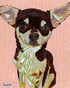 Pet Portraits Paintings - Portrait of Little Jojo by David  Hearn
