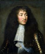 Wig Paintings - Portrait of Louis XIV by Charles Le Brun