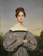 Holding Flower Framed Prints - Portrait of Louise Vernet Framed Print by Emile Jean Horace Vernet