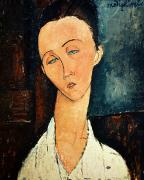 Portraits Glass Posters - Portrait of Lunia Czechowska Poster by Amedeo Modigliani