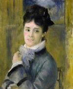 Monet Lady Posters - Portrait of Madame Claude Monet Poster by Renoir