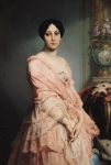 Pink Dress Prints - Portrait of Madame F Print by Edouard Louis Dubufe