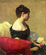 Strapless Dress Painting Posters - Portrait of Madame Maitre Poster by Ignace Henri Jean Fantin Latour