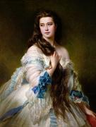 Silk On Canvas Metal Prints - Portrait of Madame Rimsky Korsakov Metal Print by Franz Xaver Winterhalter