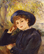 Glove Painting Framed Prints - Portrait of Mademoiselle Demarsy Framed Print by Pierre Auguste Renoir