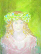 Greens Pastels Framed Prints - Portrait of Malve Framed Print by Barbara Anna Knauf