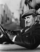 Mustaches Metal Prints - Portrait Of Man In Drivers Seat Of Car Metal Print by Everett