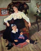 Chair Painting Metal Prints - Portrait of Marie Coca and her Daughter Metal Print by Marie Clementine Valadon