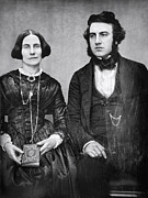 Daguerreotype Prints - PORTRAIT of MARRIED COUPLE c. 1845 Print by Daniel Hagerman