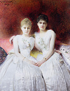 Pillows Metal Prints - Portrait of Marthe and Terese Galoppe Metal Print by Leon Joseph Bonnat