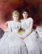 Portrait Of Marthe And Terese Galoppe Print by Leon Joseph Bonnat