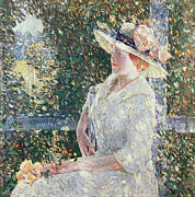 Sun Hat Framed Prints - Portrait of Miss Weir Framed Print by Childe Hassam