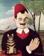 Feline Paintings - Portrait of Pierre Loti by Henri Rousseau