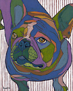 David Metal Prints - Portrait of Pop Secret the French Bulldog Metal Print by David  Hearn