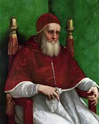 Religious Artist Paintings - Portrait of Pope Julius II - 1511 by Raphael