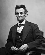 Black-and-white Photo Prints - Portrait of President Abraham Lincoln Print by International  Images