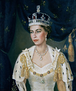 Leader Posters - Portrait of Queen Elizabeth II wearing coronation robes and the Imperial State Crown Poster by Lydia de Burgh