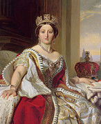 Queens Posters - Portrait of Queen Victoria Poster by Franz Xavier Winterhalter