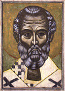 Icon Byzantine Posters - Portrait of Saint Nicholas Poster by Iconos Art