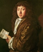 Neck Paintings - Portrait of Samuel Pepys by John Hayls