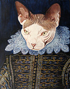 Sphynx Cat Paintings - portrait of Smeagol Voelker by Eel Eye