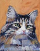 Cat Greeting Card Posters - Portrait of Squeaky Poster by Deb Putnam