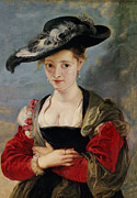 Hats Framed Prints - Portrait of Susanna Lunden Framed Print by Peter Paul Rubens