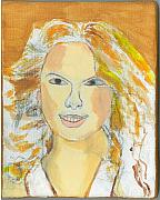 Taylor Swift Paintings - Portrait of Taylor Swift by Nat Solomon