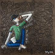 Coffee Paintings - Portrait Of The Crazy Poet by Kelly Jade King