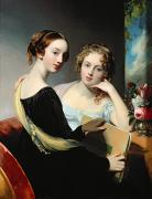 Interior Paintings - Portrait of the McEuen sisters by Thomas Sully