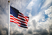 Clouds Prints - Portrait of The United States of America Flag Print by Bob Orsillo