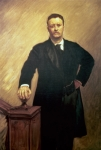 Glasses Framed Prints - Portrait of Theodore Roosevelt Framed Print by John Singer Sargent