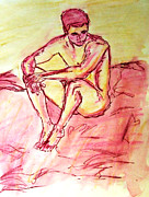 Cheap Painting Prints - Portrait of Thinking Young Male Seated Figure Nude Watercolor Painting in Purple Yellow Sketchy Print by M Zimmerman