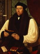 Scarf Framed Prints - Portrait of Thomas Cranmer Framed Print by Gerlach Flicke