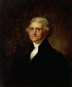 Half Man Paintings - Portrait of Thomas Jefferson by Asher Brown Durand