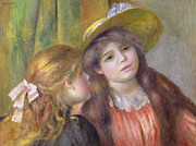 Red Dress Framed Prints - Portrait of Two Girls Framed Print by Pierre Auguste Renoir