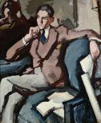 Crossed Framed Prints - Portrait of Willie Peploe Framed Print by Samuel John Peploe