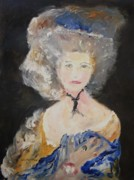 Duchess Painting Originals - Portrait Of Woman In Blue by Edward Wolverton