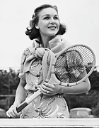 Racket Framed Prints - Portrait Of Woman With Racquet On Tennis Court Framed Print by George Marks
