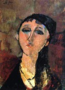 Modigliani Prints - Portrait of Young Girl  Louise Print by Pg Reproductions