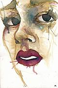 Watercolor Mixed Media Framed Prints - Portrait One Gia Framed Print by Mark M  Mellon