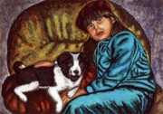 Children Portrait Print Prints - Portrait Painting of a Young Girl with a Little Dog  Print by Luigi Carlo