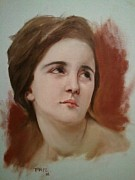Woman Head Prints Posters - Portrait study after Bouguereau Poster by Richard Thorpe